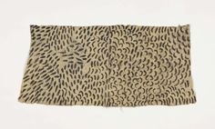 """Mbuti Pygmy Painted Bark Cloth,  Pongo  Mbuti people, Ituri Forest DR Congo  20th century    Pounded ficus bark, nagural pigments  Size:  39 1/4"""" x 18 1/2""""  (100 x 47 cm)     This composition is evocative of animal pelt markings and textures."""