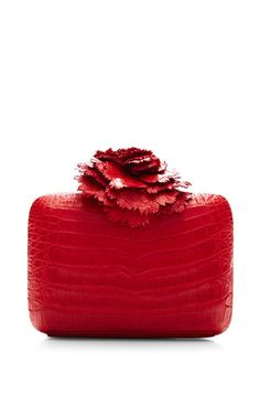 Red Crocodile Skin Clutch by Nancy Gonzalez for Preorder on Moda Operandi