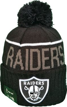 Oakland Raiders Fleece Lined Black Pom Toque