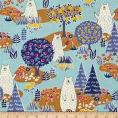 Cosmo Forest Delight Blue from @fabricdotcom  Designed by Cosmo Japan for Springs Creative, this cotton print is perfect for quilting, apparel, and home decor accents. Colors include