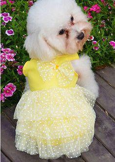 Lindo-Vestido-De-Chifon-Camisas-Ropa-Disfraz-Ropa-Para-Perro-Cachorro-Mascotas-2-Colores