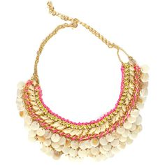 Filini Collection Bohemia Shells Woven Boho Statement Necklace ($78) ❤ liked on Polyvore featuring jewelry, necklaces, multi, boho jewelry, chain necklaces, bohemian jewelry, multi strand necklace and shell necklace
