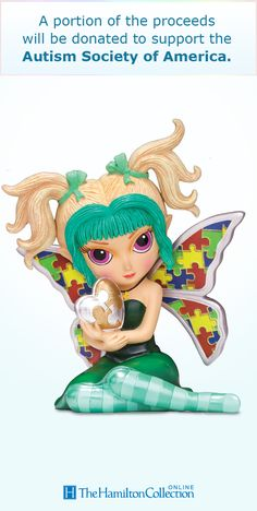 For families living with Autism, the dream is always hope for a brighter future! Now, acclaimed artist Jasmine Becket-Griffith champions that hope with this limited-edition fairy figurine. Featuring puzzle-pattern butterfly wings, and a silvery and golden puzzle-motif heart, this fairy's precious visage is a perfect symbol of your dedication to the cause.