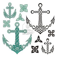 Anchor illustrations inspired from Celtic knot designs. Stock Photo - 14813407