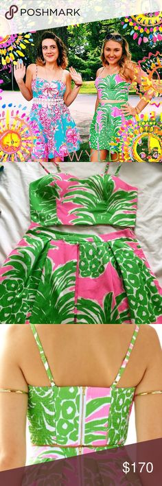 Flamenco Pink Pout Parfait Two Piece Crop Set I think it's time to get rid of my favorite piece :( Only worn twice, practically brand new, needs a new loving home. Open to offers but WAY CHEAPER ON 🅿🅿 , they just take a bunch of fees so it's priced higher. Beautiful pineapple print part of Lilly's summer collection. Top has section that is able to stretch to fit bigger sizes, would fit 8 or 10 Lilly Pulitzer Dresses
