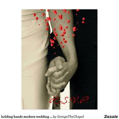 holding hands modern wedding response RSVP