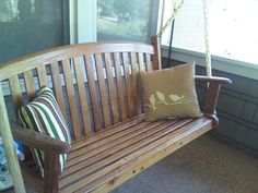 a quick coat of polyurethane-make your inexpensive porch swing last years longer and creates a beautiful finish!