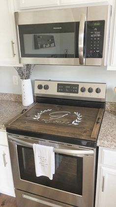 Beautiful diy wood stove cover secure the 4 smaller pieces with small l brackets and hidden screws underneath. Diy monogrammed wooden stovetop cover and tray. Stove Top Cover Custom Wooden Stove Cover Personalized Wooden These… Cocina Diy, Diy Décoration, Kitchen Redo, Kitchen Ideas, Kitchen Designs, Kitchen Cabinets, Kitchen Tables, Kitchen Floor, Diy Kitchen Makeover