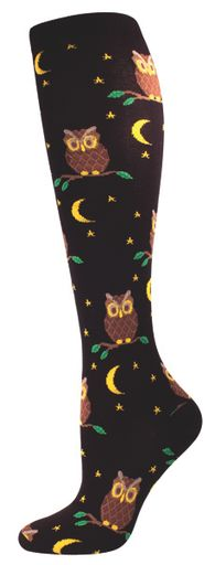 Women's Novelty Knee High Socks - Night Owl From Socksmith Design