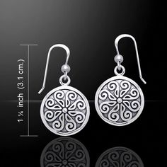 - Norse Viking Shield Earrings - Nordic Solar Shield Drop Earrings. - Handcrafted in .925 Sterling Silver. - Size: Approximately 1 1/4 inches (3.1 cm), including the hook drop. - Patterned after a Vik