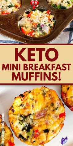 Keto Breakfast Muffins with Cheese! These Cheesy Keto Breakfast Muffins are SO good that you might want to serve them for your next keto lunch or keto snack! They're loaded with cheeses and keto-friendly vegetables... and of course tons of flavor! Low carb breakfast muffins, sugar-free breakfast muffins, and gluten-free breakfast muffins.<br> Carb Free Lunch, Healthy Low Carb Breakfast, Keto Breakfast Muffins, Low Carb Breakfast Casserole, Breakfast Recipes, Brunch Casserole, Breakfast Snacks, Casserole Recipes, Breakfast Ideas