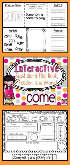FREE! Activities to work on the sight word COME!