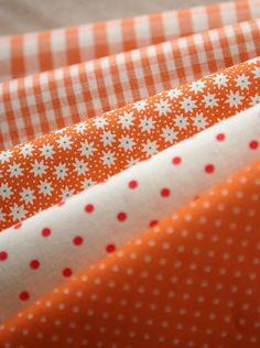 Vivid Orange Floral dots and check Cotton Each half yard by SonSu, $26.00