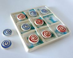 Ceramic Art Tic Tac Toe Board, Handcrafted Crackle Glazed, Family Game