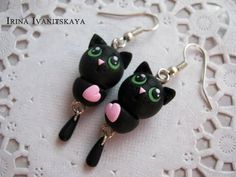 Earrings Black Cat master class. Black Cat Polymer Clay Tutorial - YouTube