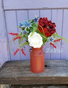 Patriotic July 4th Decoration- 4th of July Decor- Silk Flower Centerpiece Floral Arrangement- Americana Rustic Primitive- Red White Blue by lalascustomdesigns on Etsy