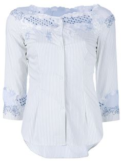 White striped cotton blouse from Ermanno Scervino - blue lace detailing