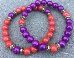 Red & Purple Beaded Bracelet Set