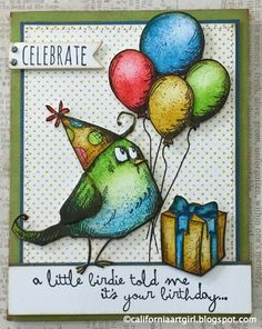 "coloring Tim Holtz ""Bird Crazy"" stamps"