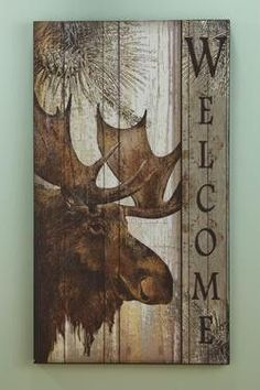Wood Moose Welcome Wall Plaque