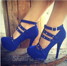 Fashionable Blue Suede Ankle Strap Rivets Decoration High Heel Shoes From The Plus Size Fashion Community At www.VintageAndCurvy.com