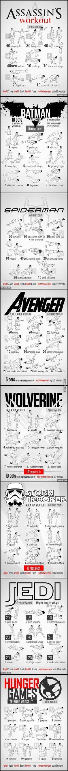 for Assassin, Batman, Spiderman, Avenger, Wolverine. Workout-for-Assassin-Batman-Spiderman-Avenger-WolvWorkout-for-Assassin-Batman-Spiderman-Avenger-Wolv Zumba Fitness, Fitness Workouts, At Home Workouts, Fitness Motivation, Health Fitness, Fitness Goals, Hero Workouts, Weight Workouts, Quick Workouts