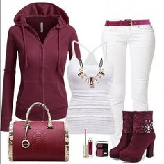 burgundy and white casual fall/winter outfit. Hoodie, jeans, t-shirt, ankle boots and purse. This is a super cute and easy to put together casual street outfit! Fashion Mode, Look Fashion, Winter Fashion, Fashion Trends, Cheap Fashion, Fashion Fashion, High Fashion, Fashion Ideas, Ankle Boots With Jeans