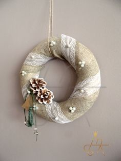 Handmade Christmas Wreath-Χειροποιητο πλεκτο στεφανι Burlap Wreath, Christmas Decorations, Christmas Ideas, Hanukkah, Pillows, Home Decor, Image, Noel, Decoration Home