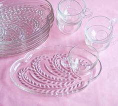 Bought these at a swap meet for $5 dollars brand new! great buy!!! Snack Trays Cup and Plate SetsClear Glass Vintage  DIY by OllyOxes