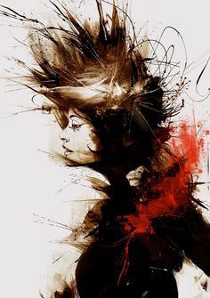 """""""Re-Visited"""" - Russ Mills {abstract female head woman face profile portrait painting}"""