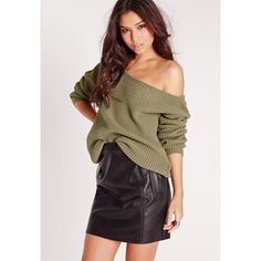 Missguided Off Shoulder Jumper ($26) ❤ liked on Polyvore featuring tops, sweaters, khaki, khaki jumper, jumpers sweaters, brown tops, off shoulder sweater and khaki sweater