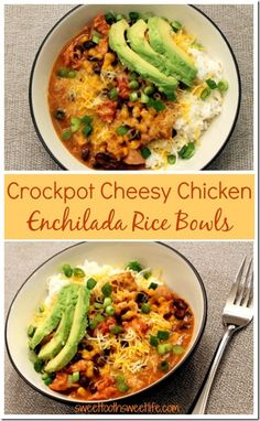 Chicken Tacos Discover Crockpot Cheesy Chicken Enchilada Rice Bowls - Sweet Tooth Sweet Life These Crockpot Cheesy Chicken Enchilada Rice Bowls are perfect for busy weeknights. They come together in no time AND theyre full of flavor! Cheesy Chicken Enchiladas, Crockpot Enchilada Chicken, Chicken Tacos, Enchilada Rice, Slow Cooker Recipes, Cooking Recipes, Crock Pot Cooking, Mexican Food Recipes, Slow Cooker