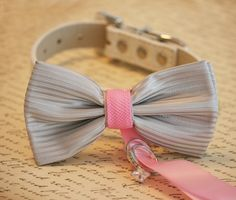 Pink and Silver Dog Bow Tie, Dog ring bearer, Pink and Silver Pet Wedding…