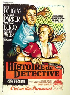 DETECTIVE STORY (1951) - Kirk Douglas - Eleanor Parker - William Bendix - Cathy O'Donnell - Based on the play by Sidney Kingsley - Directed by William Wyler - Paramount Pictures - Italian movie poster.