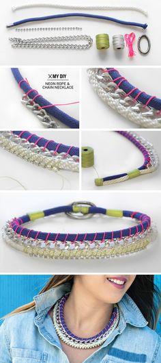 I Spy DIY: MY DIY | Neon Rope & Chain Necklace bracelet, diy ideas, statement necklaces, neon rope, chains, spi, collar, diy necklace, chain necklac