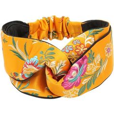 Gucci Women Tokyo Printed Silk Knot Headband ($355) ❤ liked on Polyvore featuring accessories, hair accessories, yellow, knotted headwrap, silk headband, knotted headband, hair band headband and gucci