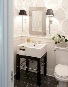 Nice soft colors with black accents.#lighting #bathroom