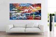 Öl Gemälde 'Parrot's Paradise' 200x100cm