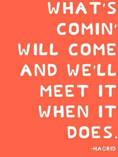 What's comin' will come and we'll meet it when it does. -Hagrid Harry Potter Quote