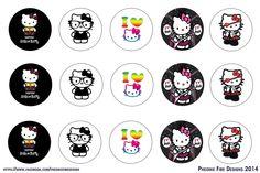 Retired Hello Kitty Digital Collage Bottle Cap Images Sanrio