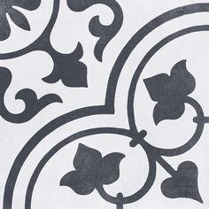 Ivy Hill Tile Sintra Ornate Matte x Porcelain Field Tile in Black & White Patchwork Tiles, Splashback Tiles, Backsplash Tile, Tile Stores, Hallway Designs, Mediterranean Design, Encaustic Tile, Spanish Style Homes, Floor Decor
