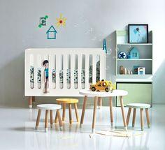 Babybett Hocker Tisch Regal FLEXA PLAY