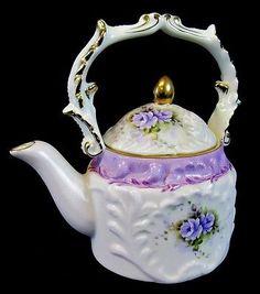 Vintage Decorative Teapot White Purple Floral Ceramic Porcelain