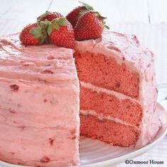 Strawberry Layer Cake with Strawberry Buttercream Frosting. | 9 fresh-picked strawberry recipes from Gooseberry Patch