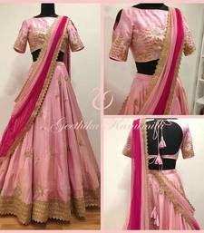 Light Pink Tapeta Silk With Heavy Embroidery Work Semi-Stitched Lehenga Choli Black Lehenga, Pink Lehenga, Bridal Lehenga Choli, Indian Lehenga, Floral Lehenga, Pakistani Bridal, Indian Bollywood, Indian Bridal, Kurti Designs Party Wear