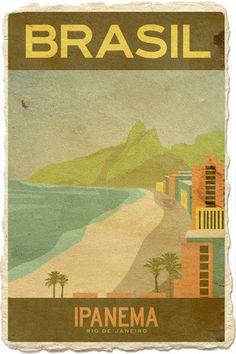 Vintage travel beach poster - Ipanema Beach, Rio de Janeiro Brasil - Olà Brazil