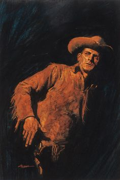 Pulp, Pulp-like, Digests, and Paperback Art, RON LESSER (American, 20th Century). Western paperbackcover. Acrylic on board. 13.5 x 9 in. (sight). Signed lowerleft... Image #1