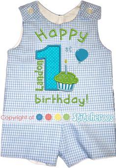 First Cupcake Birthday Shortalls or Longalls