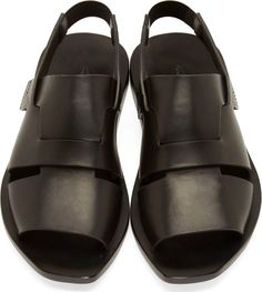 Rick Owens Black Leather Lazarus Sandals