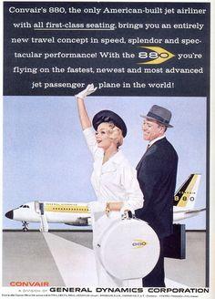 Convair 880, airlines, vintage, travel poster